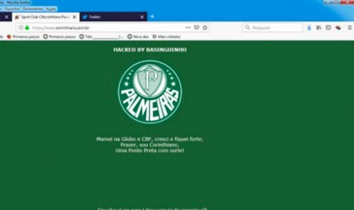 2c265ee15428d Site do Corinthians é invadido e hackers colocam símbolo do Palmeiras  veja!